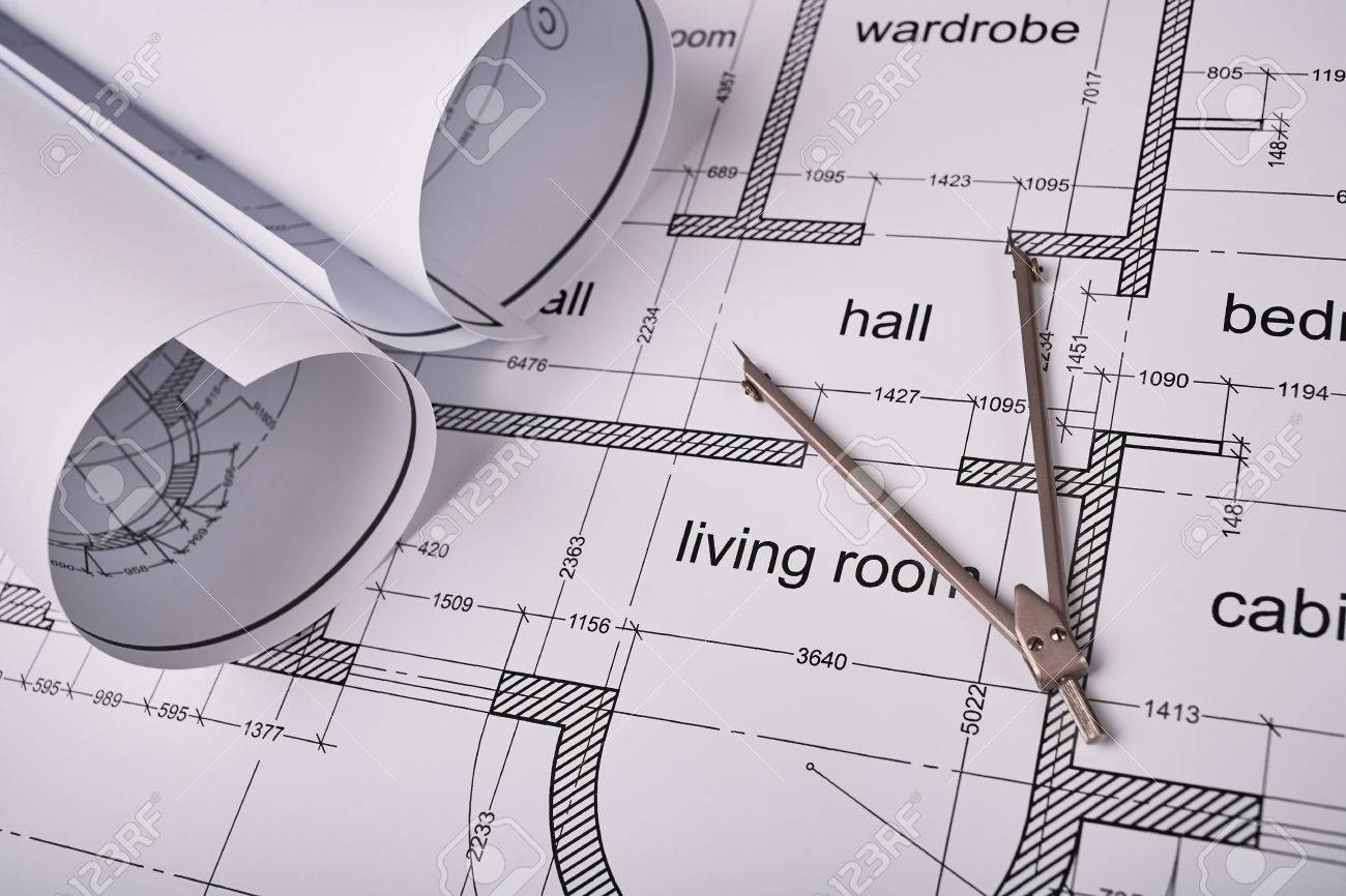 Construction of the building layout building drawing on paper construction of the building layout building drawing on paper drawing tools blueprints rolled malvernweather Image collections