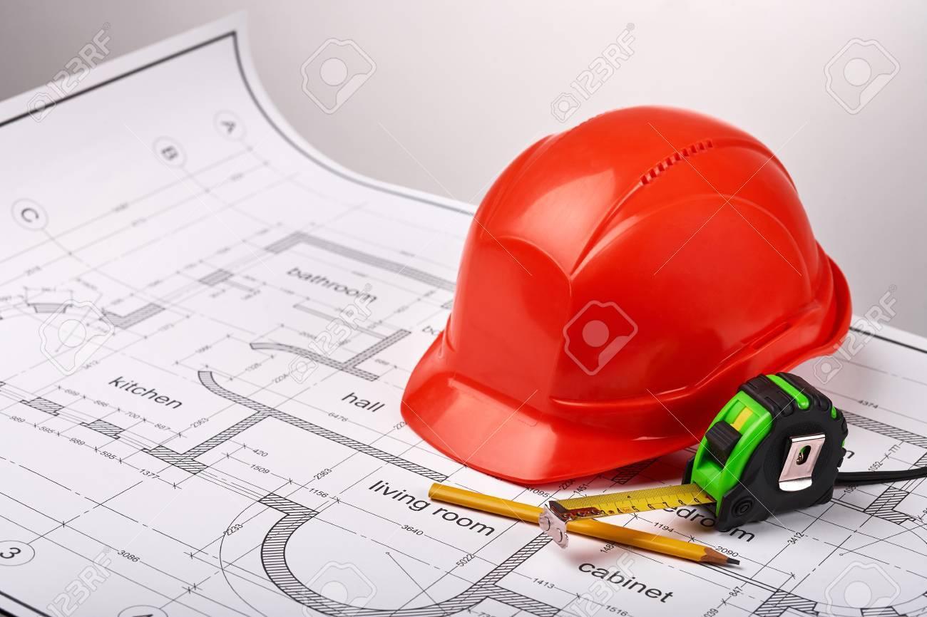 Bau Helm Und Ein Massband Tischler Bleistift Den Bau Des Gebaudes