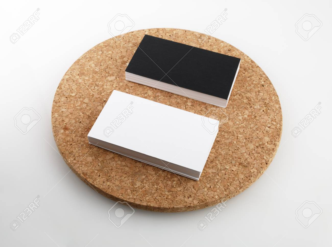 Black And White Business Cards On A Round Cork Base. Stock Photo ...