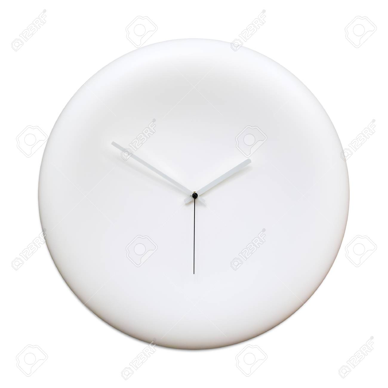 Blank modern analog clock with arrows isolated on white background