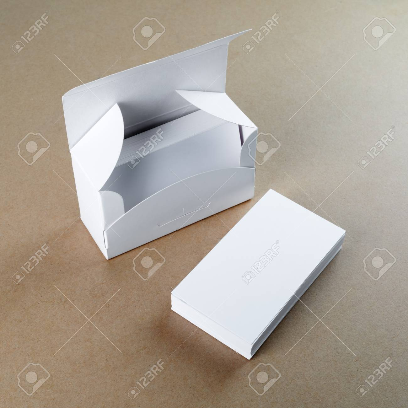 A Box With Blank Business Cards And A Stack Of Business Cards ...