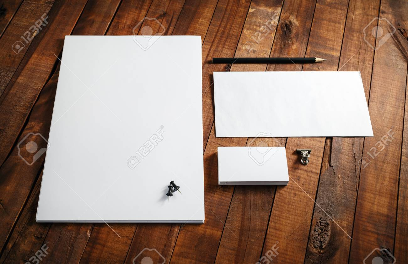 Blank stationery template blank letterhead business cards stock blank stationery template blank letterhead business cards envelope and pencil mock reheart Image collections