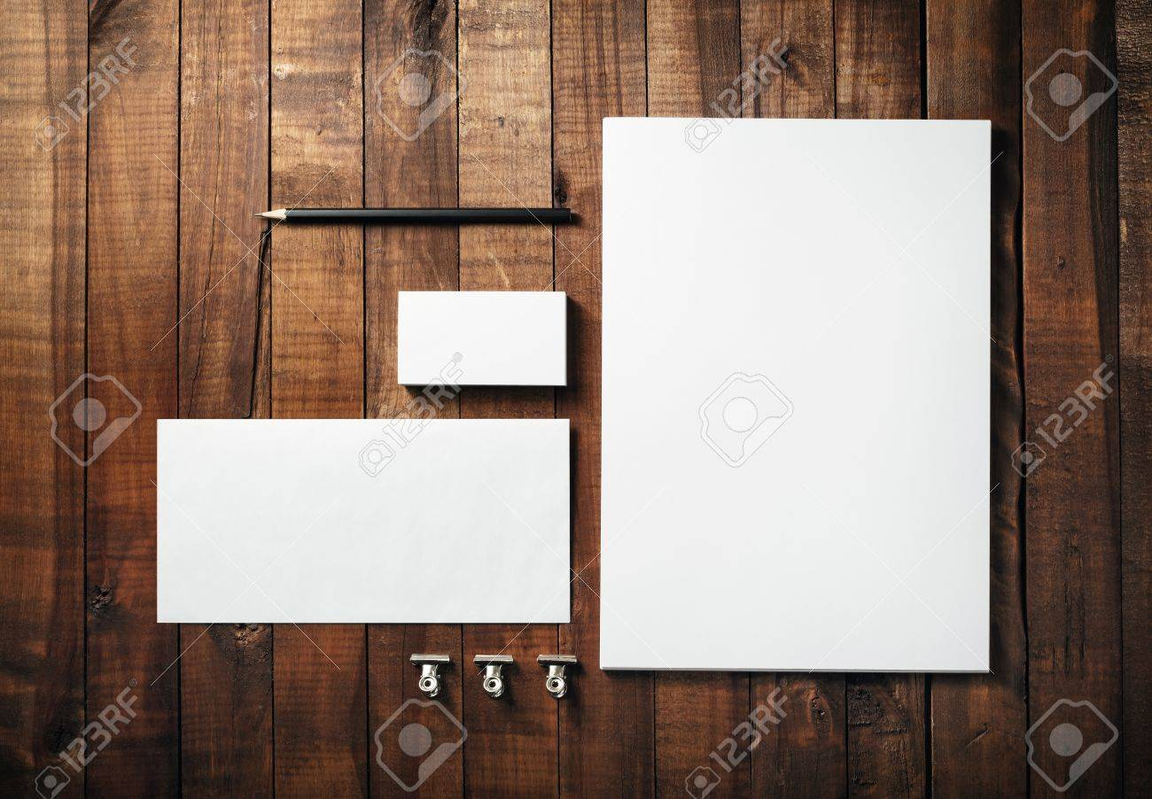 Blank stationery set on wood table background corporate identity blank stationery set on wood table background corporate identity template letterhead business cards reheart Gallery