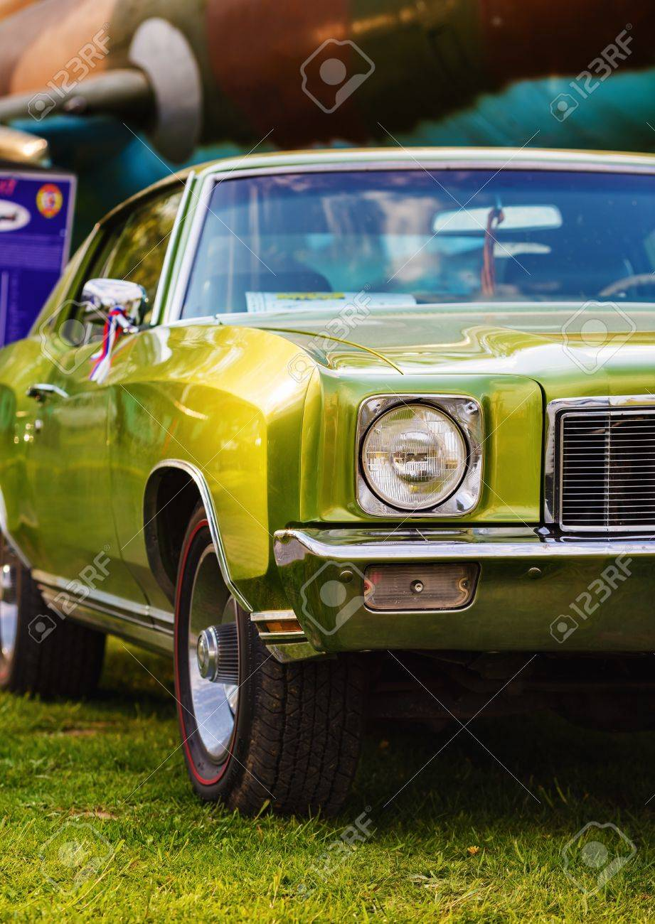 Green Vintage Car. Classic Retro Car. Close-up Of An Old Green ...