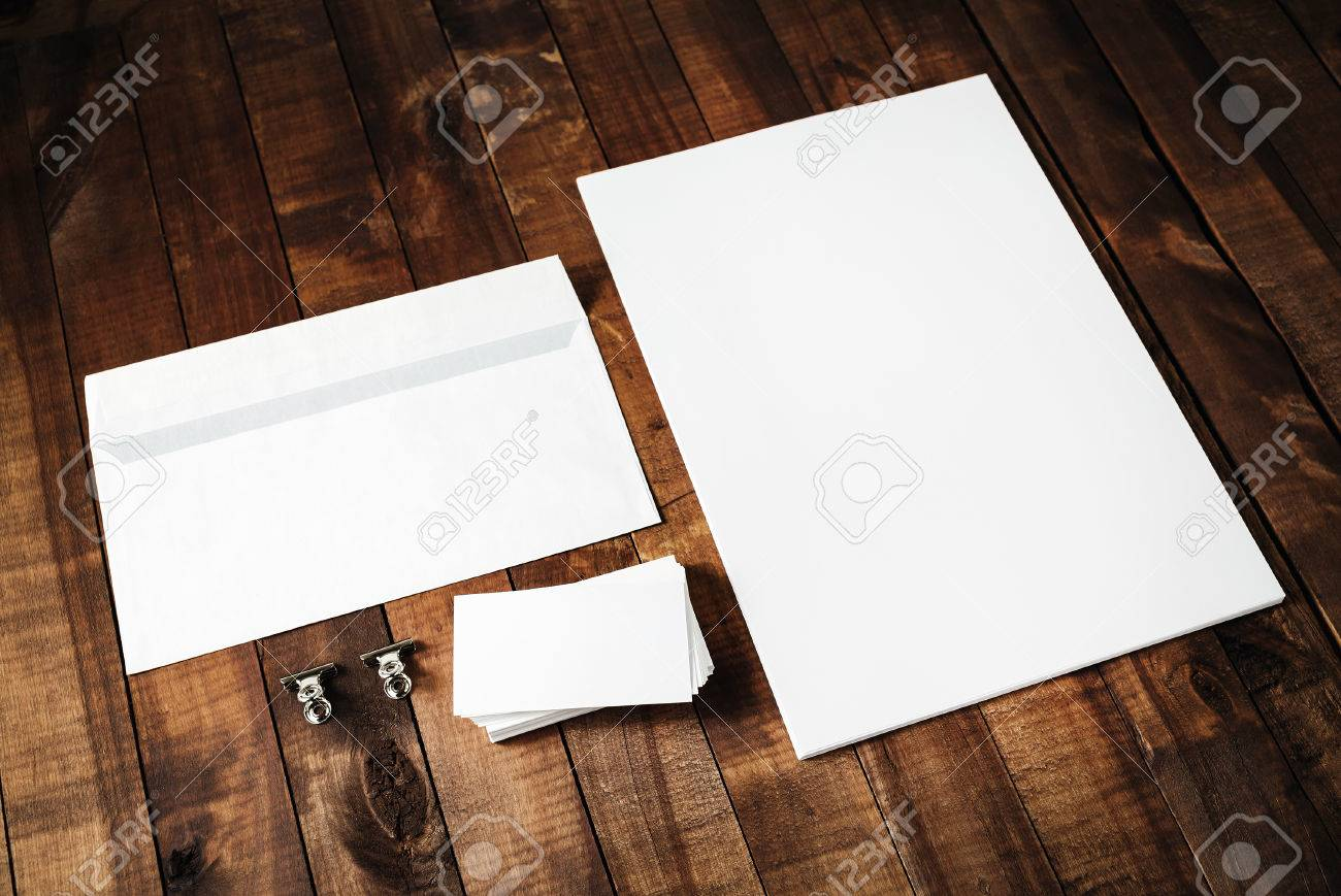Blank letterhead business cards and envelope photo of blank blank letterhead business cards and envelope photo of blank stationery set on vintage wooden reheart Gallery