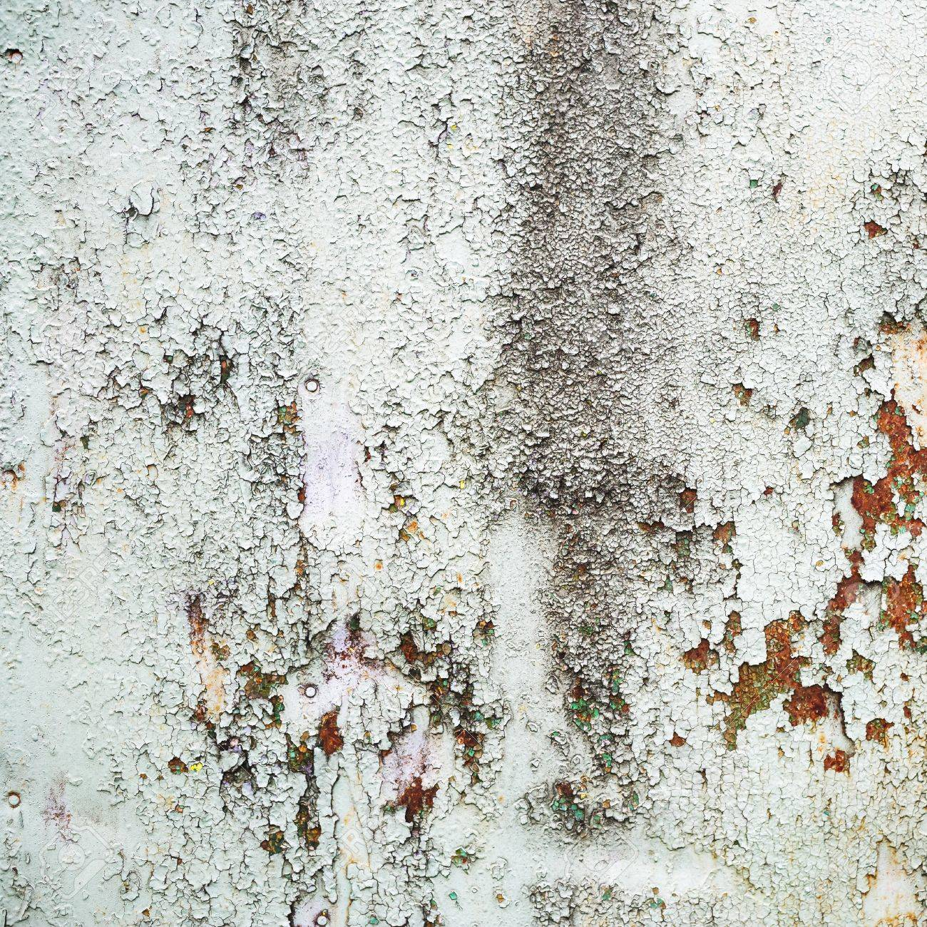Rusty Painted Metal Surface Weathered Peeling Paint Texture Stock