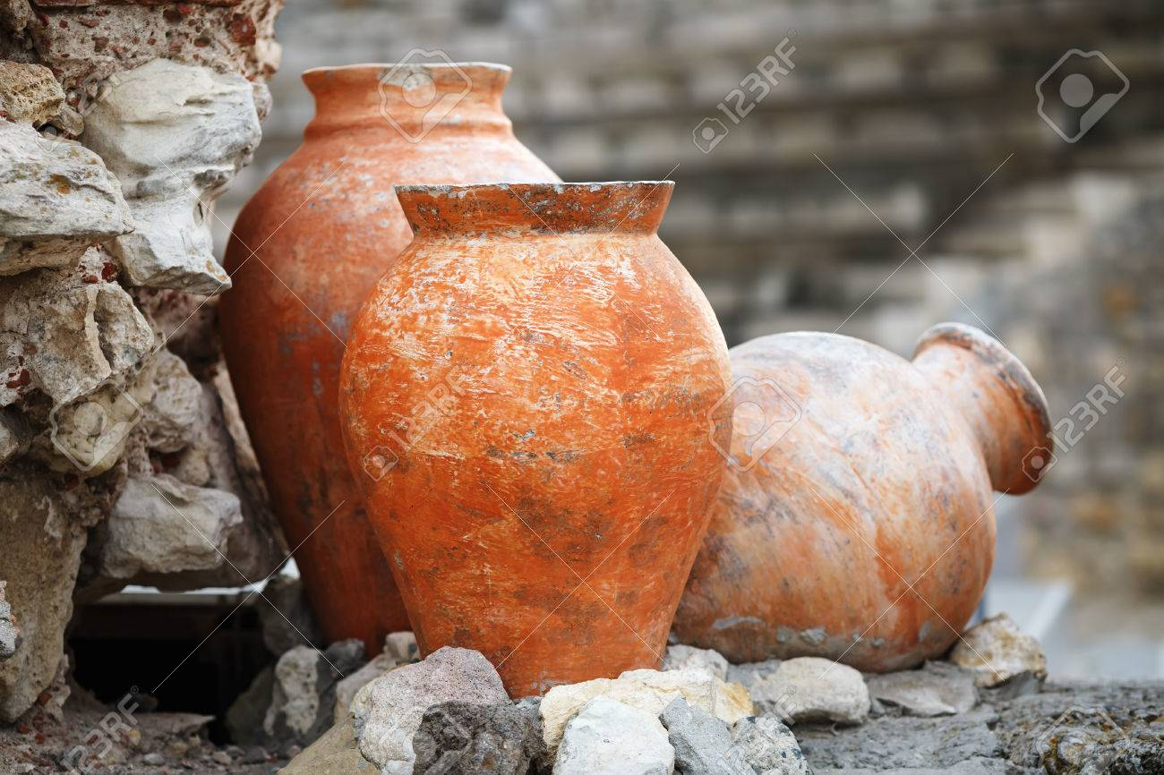 Old Ancient Clay Vases Outdoors. Still Life Of Ceramic Pots... Stock ...