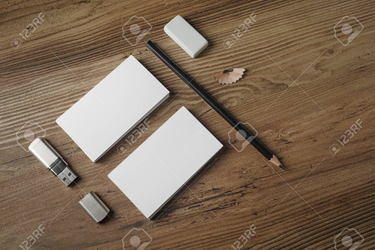 Photo Of Blank Stationery Set. Bank Business Cards, Pencil, Eraser ...