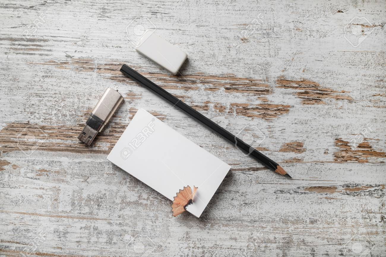 Photo Of Blank Stationery. Bank Business Card, Pencil, Eraser ...