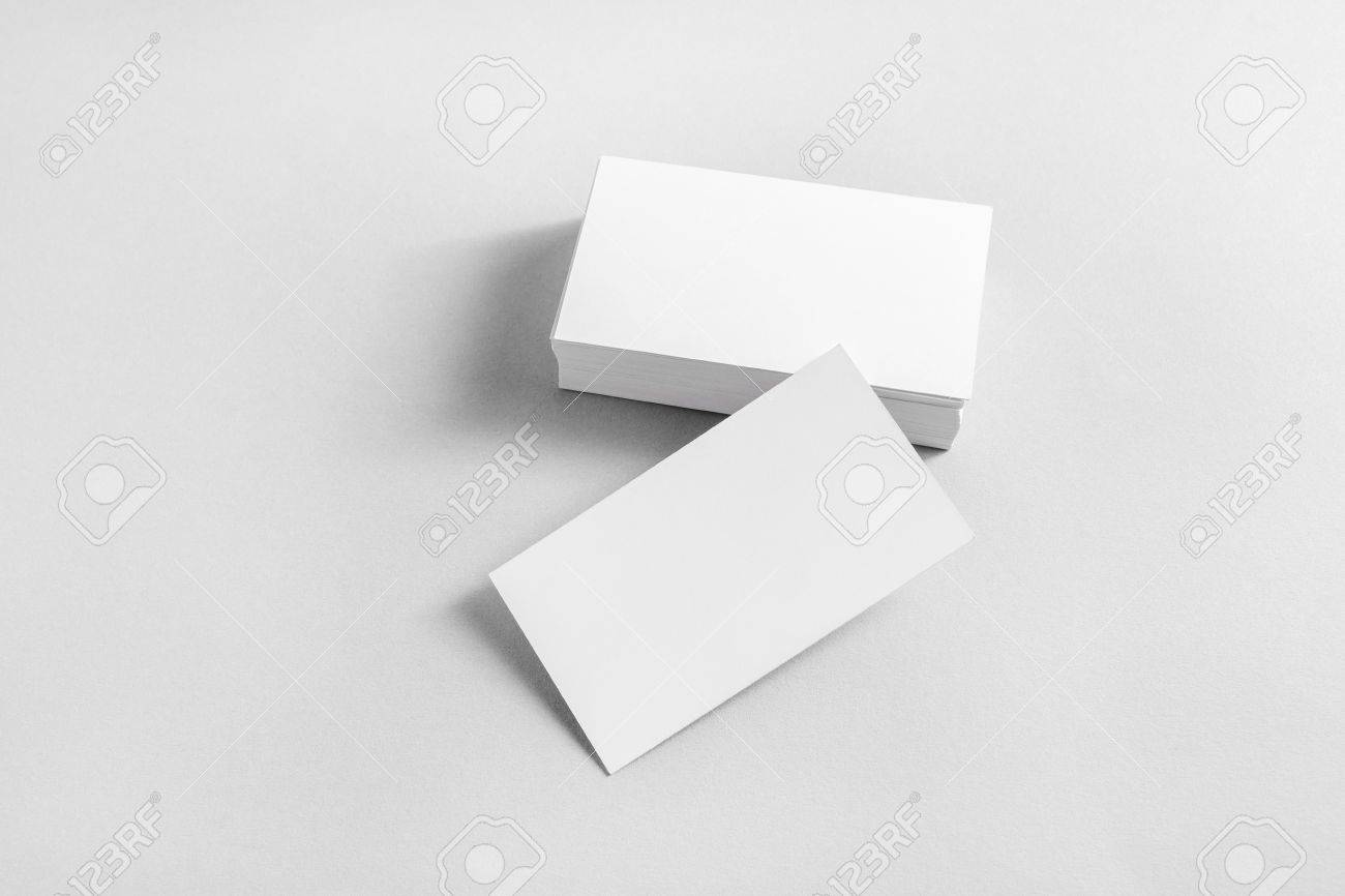 Photo Of Blank Business Cards With Soft Shadows On Paper Background ...