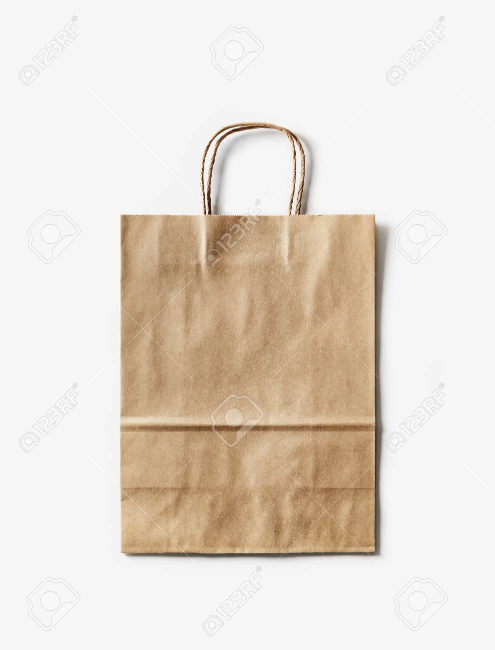 Blank Craft Paper Bag On White Paper Background Recyclable Package