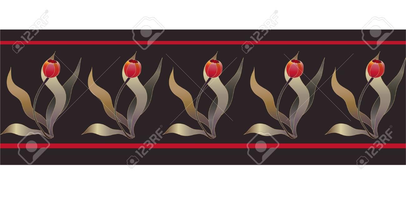 seamless red tulip folk ribbon Stock Vector - 8544222