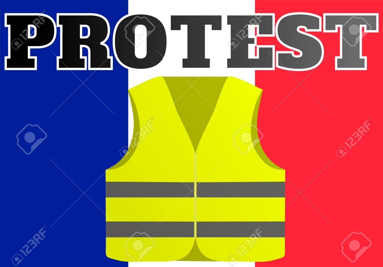 Protests of yellow vests in France. Suitable for news on Gilets Jaunes. of the events taking place in France. - 115606437