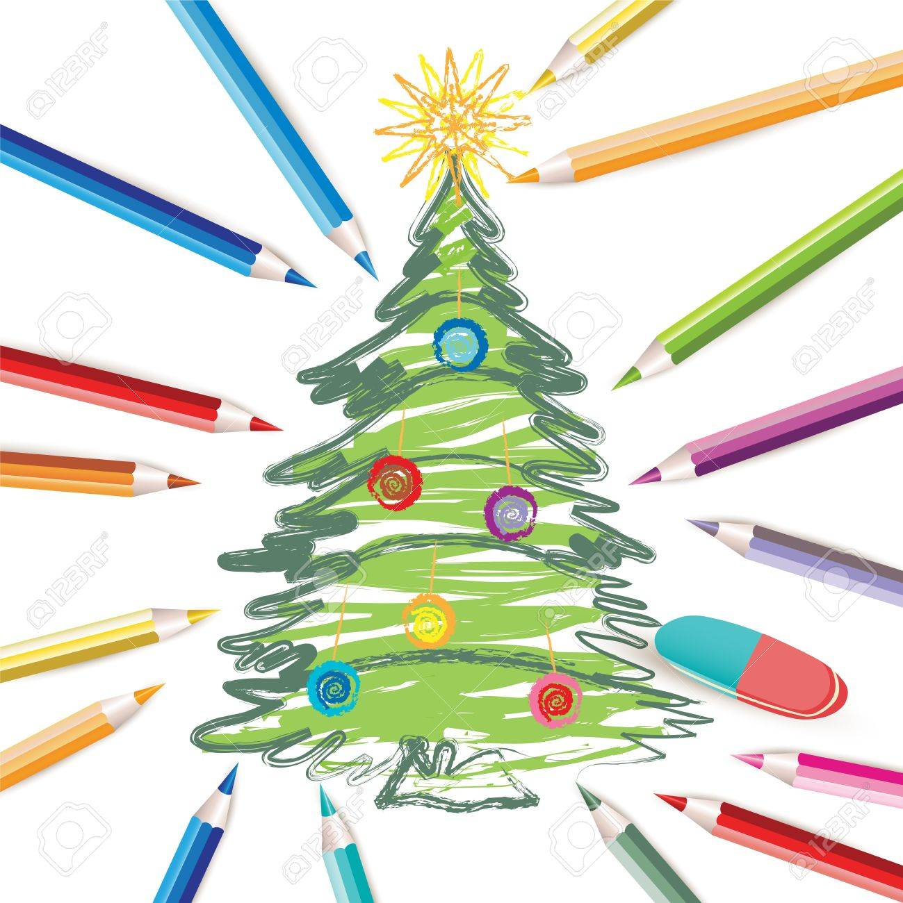 Christmas Tree With Colored Pencils And Eraser Royalty Free Cliparts ...