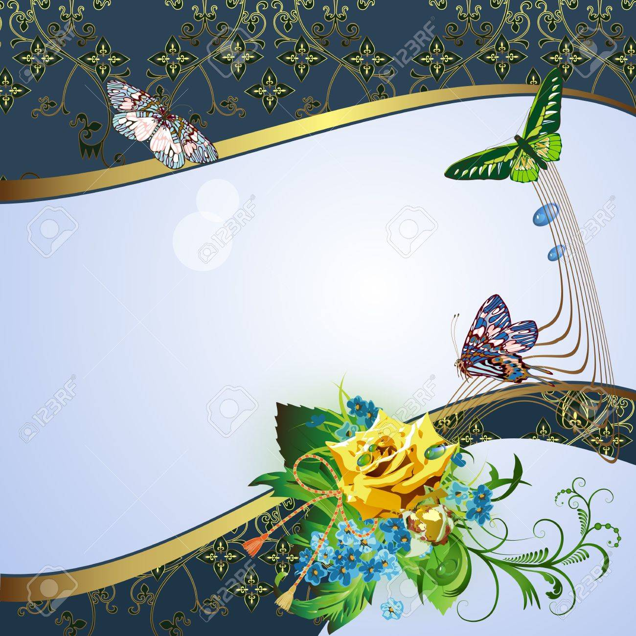 Background with yellow rose, cornflowers and butterflies Stock Vector - 12922028