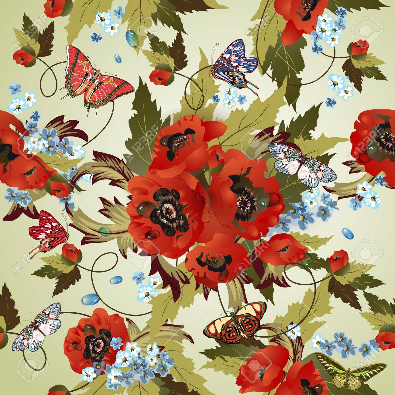 Beautiful seamless pattern with poppies Stock Vector - 12922016