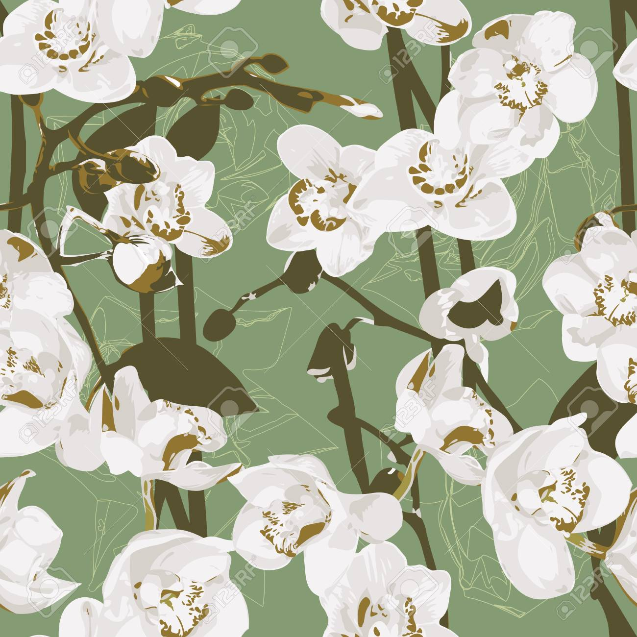 Seamless pattern with orchids Stock Vector - 12921971