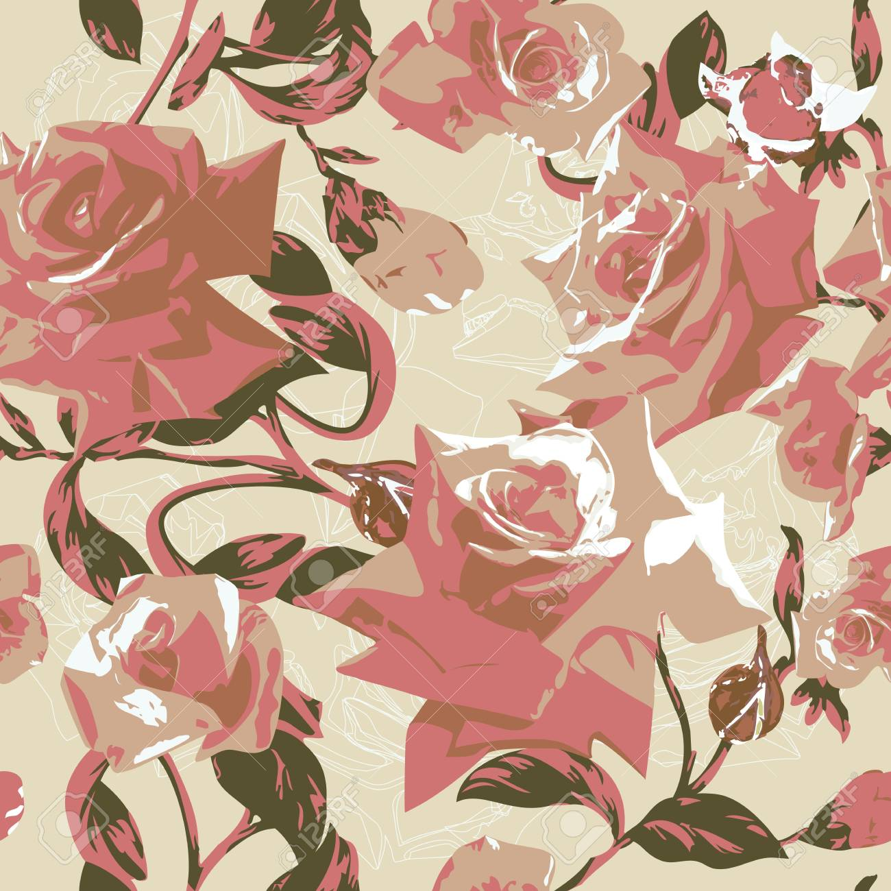 Beautiful seamless pattern with pink roses Stock Vector - 12921995