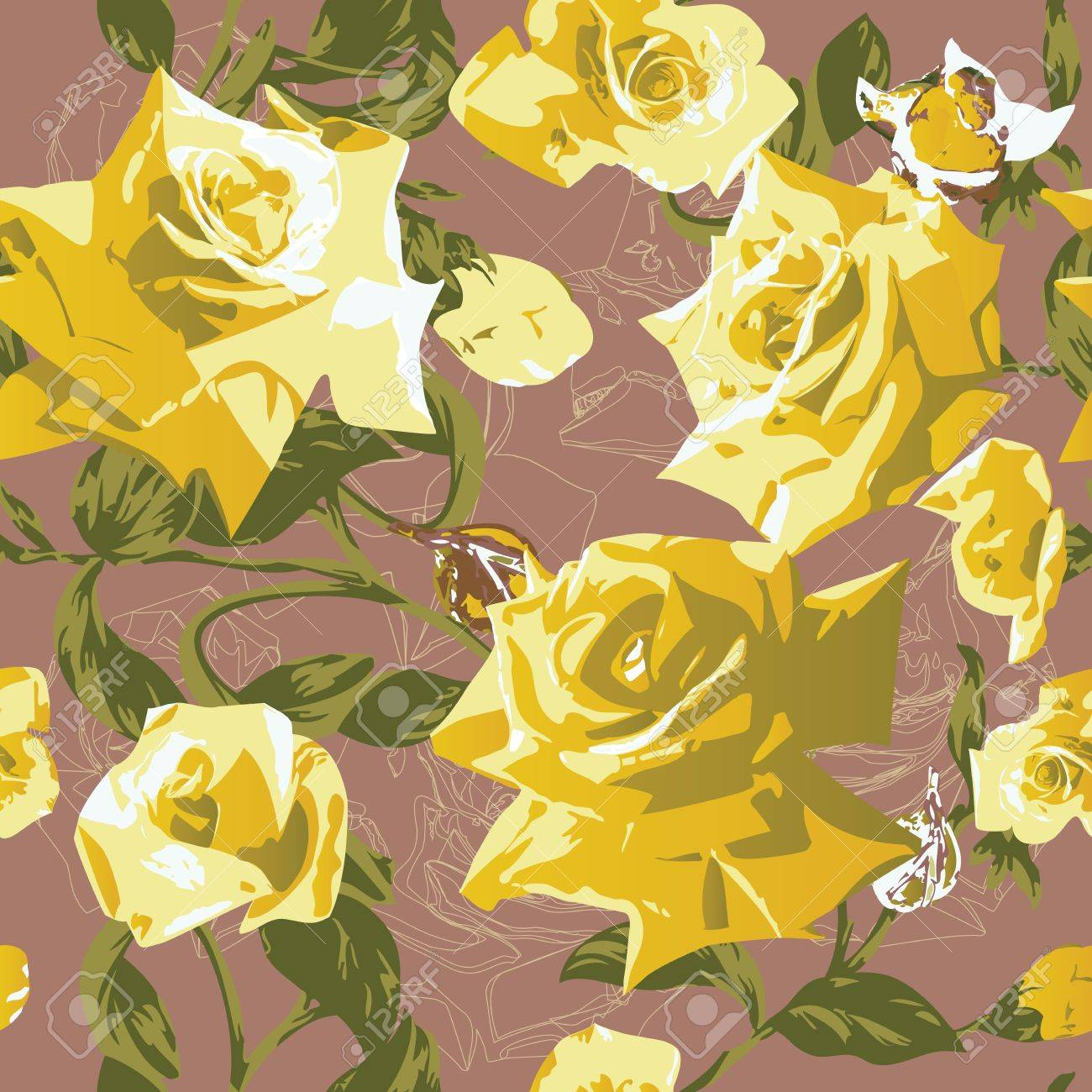 Beautiful seamless pattern with yellow roses Stock Vector - 12921993