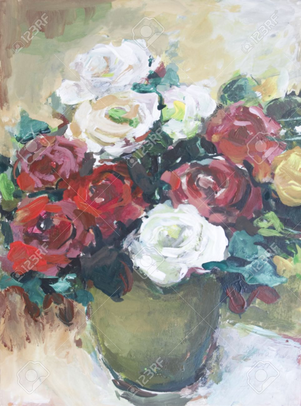 Roses painted in acrylics  Fresh roses in a vase on the table Stock Photo - 14234894