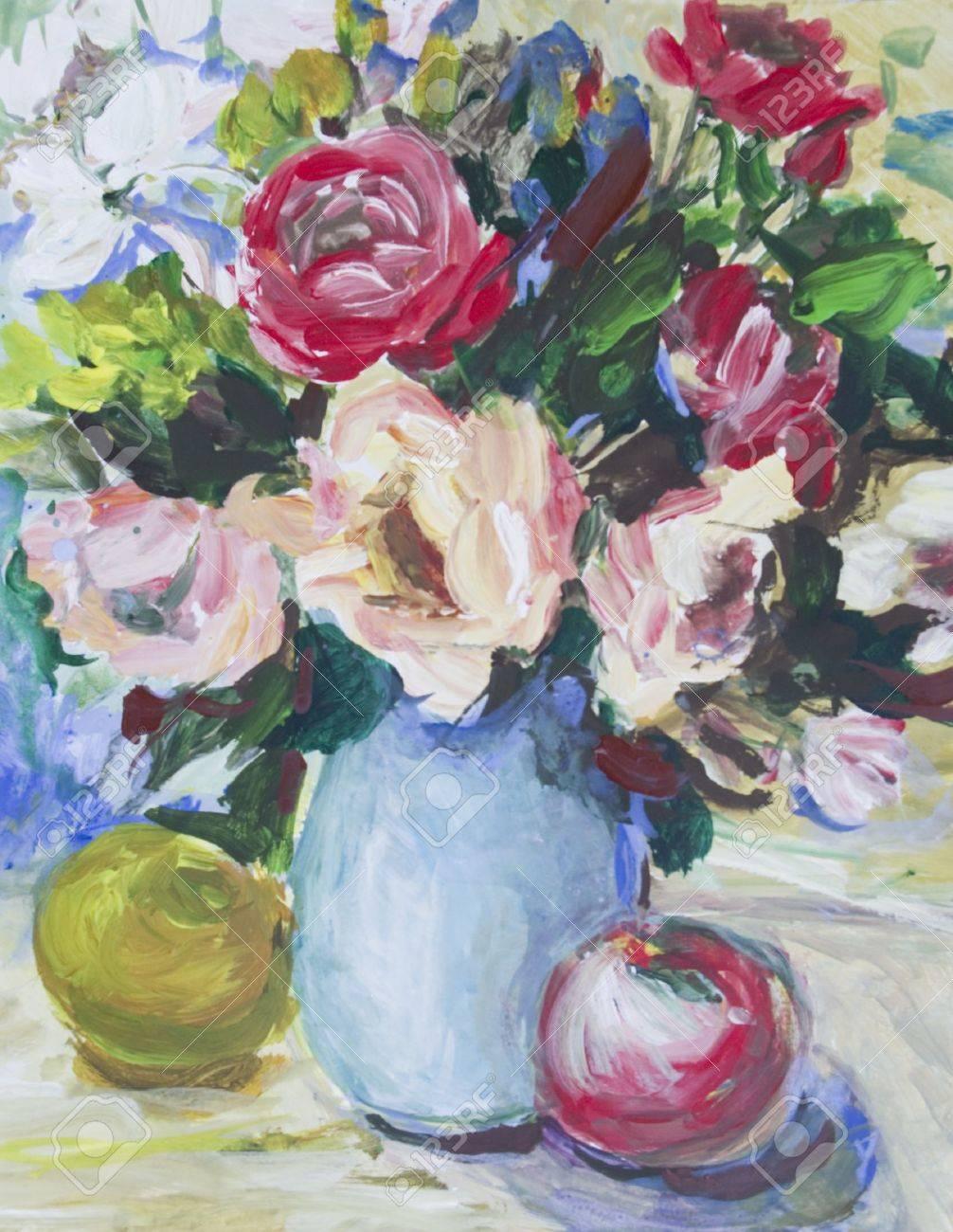 Roses In Acryl Frische Rosen In Einer Vase Und Apfel Auf Dem Tisch