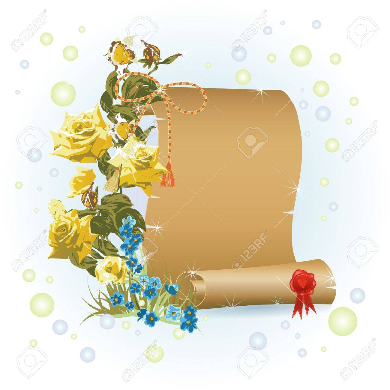 Papyrus and branch with flowers over light background Stock Vector - 14234860