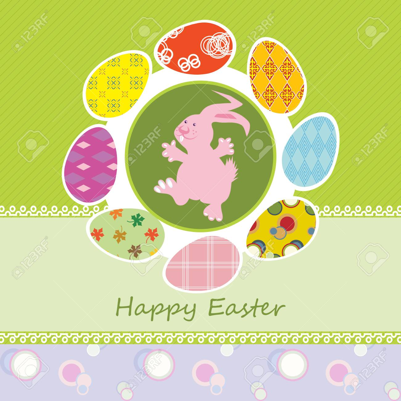 Easter card with happy bunny and decorated eggs Stock Vector - 14234836