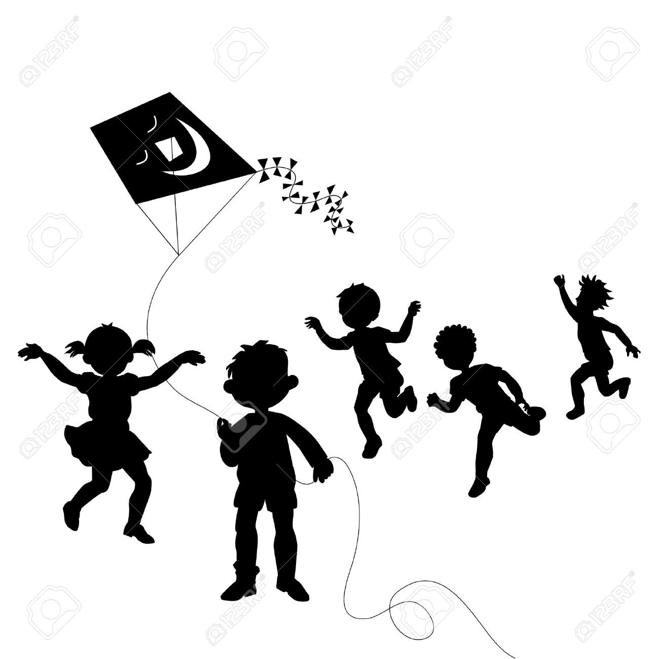 Kids playing; group of happy children Stock Vector - 14234834
