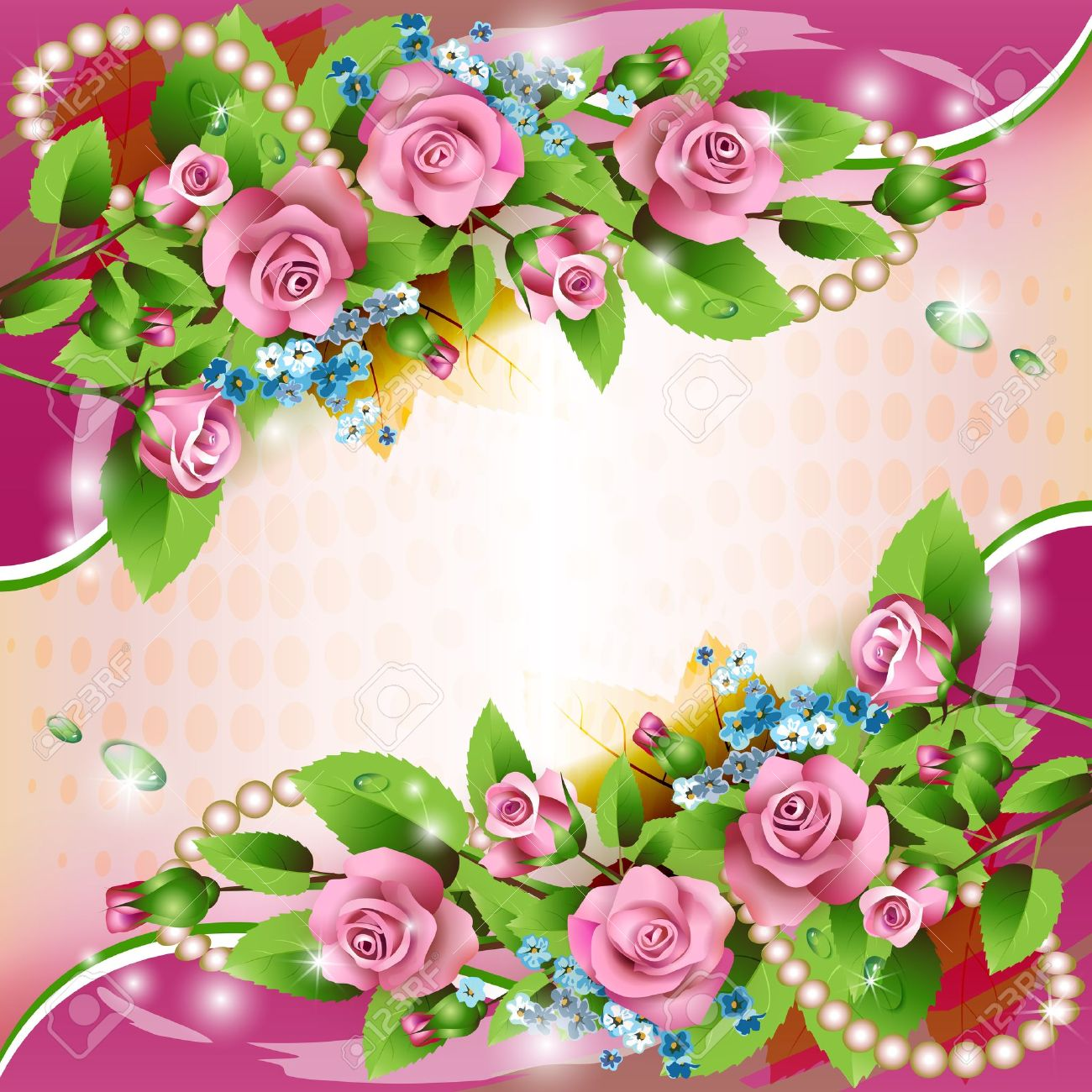 Beautiful background with pink roses and drops Stock Vector - 14557163