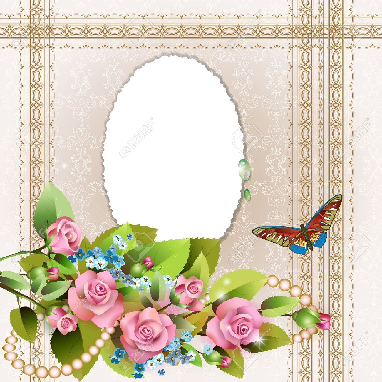 Frame With Pink Roses And Pearls On Romantic Background Royalty Free ...