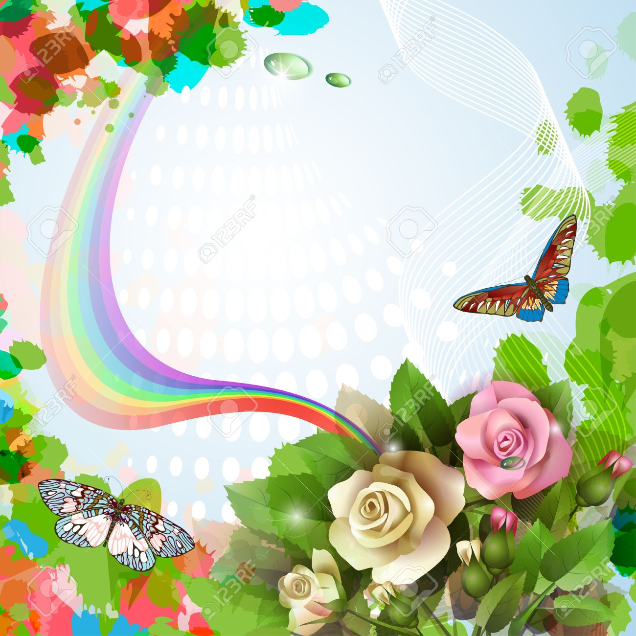 Elegant Background With Beautiful Roses Rainbow Butterflies And Drops Stock Vector