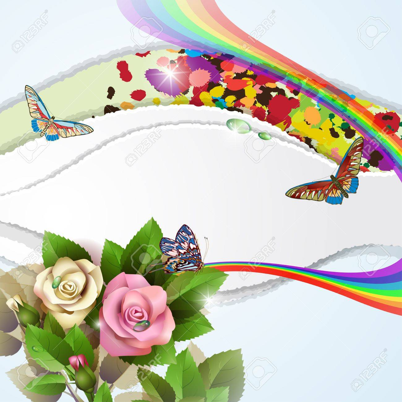 Elegant background with beautiful roses, rainbow, butterflies and drops Stock Vector - 14704852