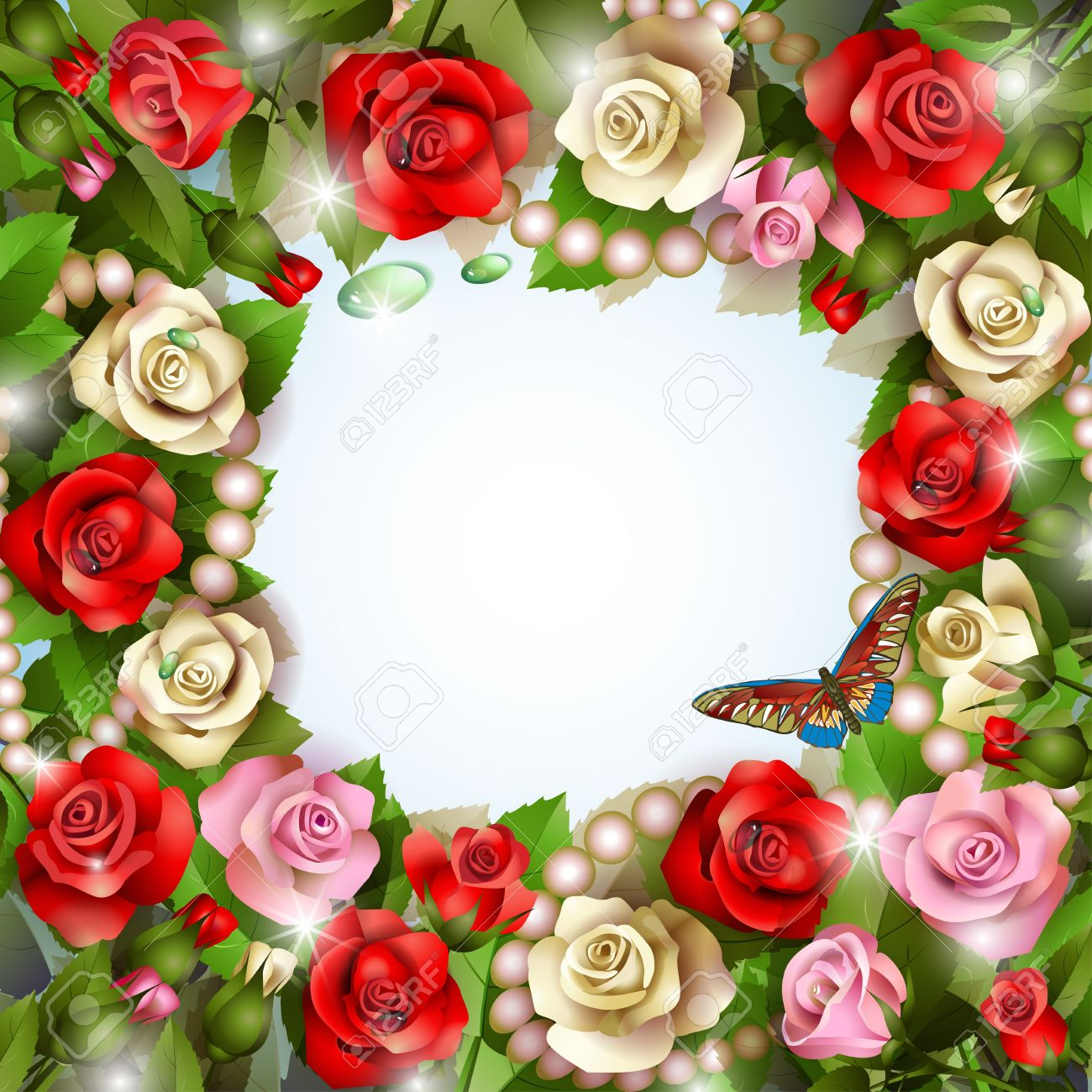 Beautiful background with roses, pearls, drops and butterfly Stock Vector - 14704879