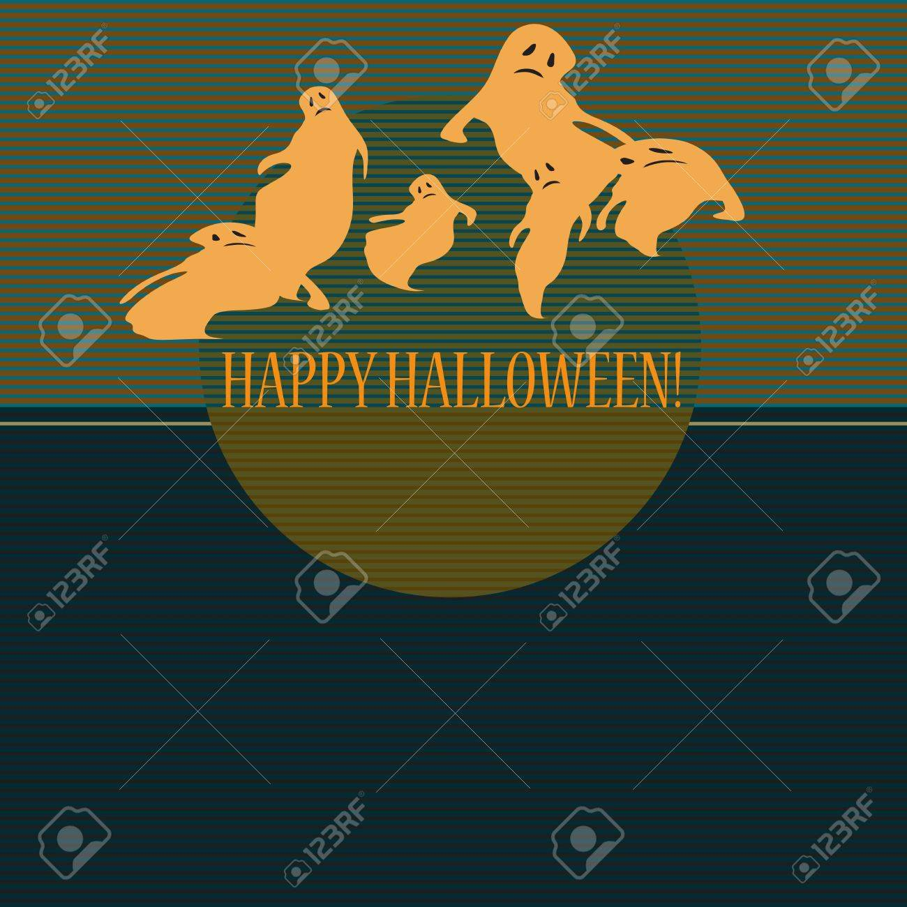 Halloween with ghosts  Can be used as card, background and poster Stock Vector - 15285766