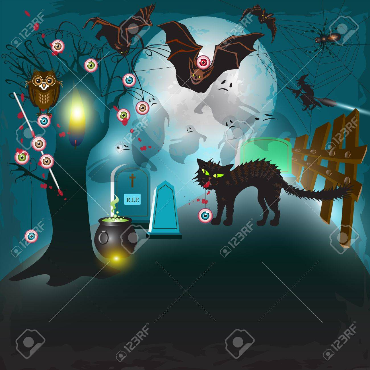 scary halloween with tree, eyes, cat and bats royalty free cliparts