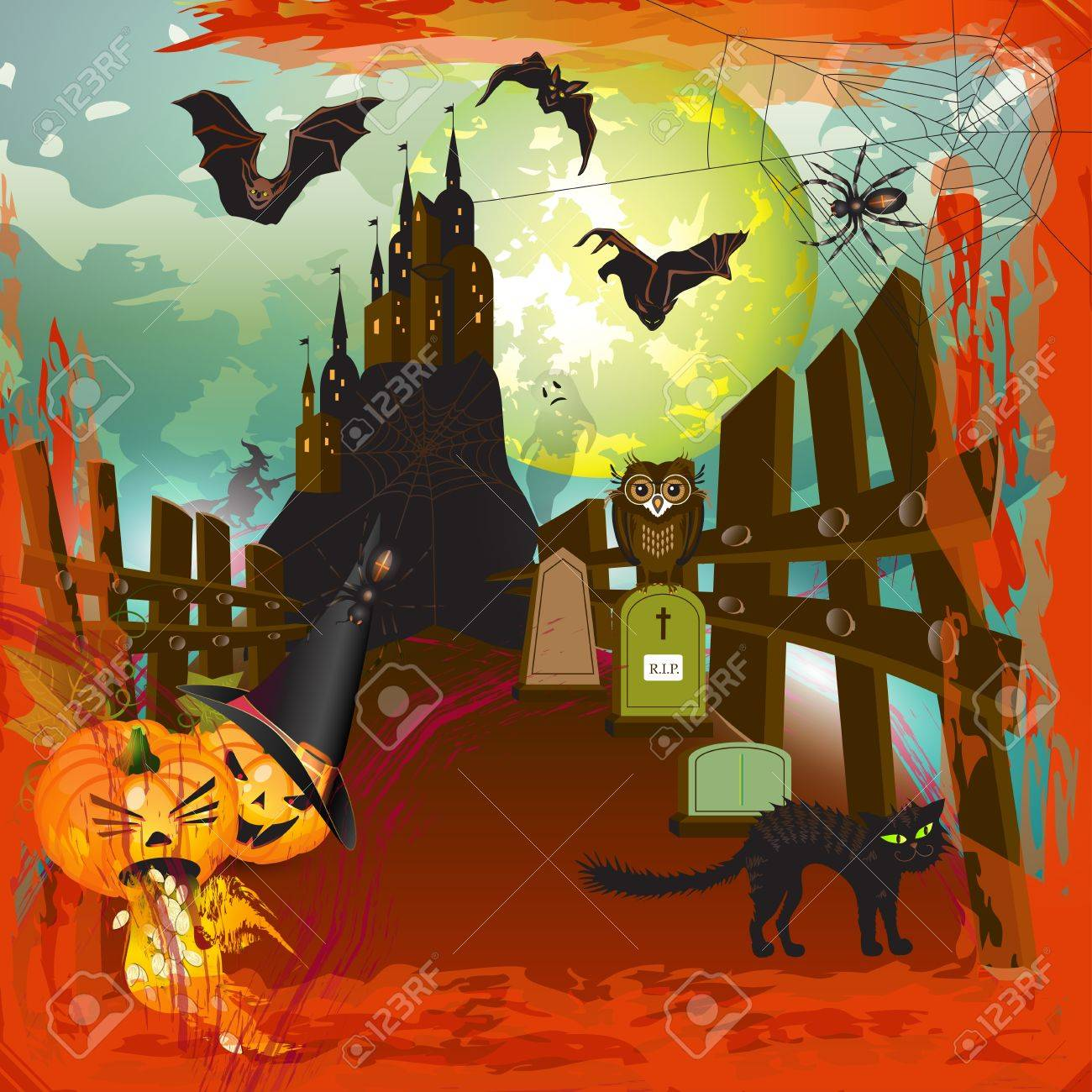 Scary halloween castle background with moon, fire and blood Stock Vector - 15285757