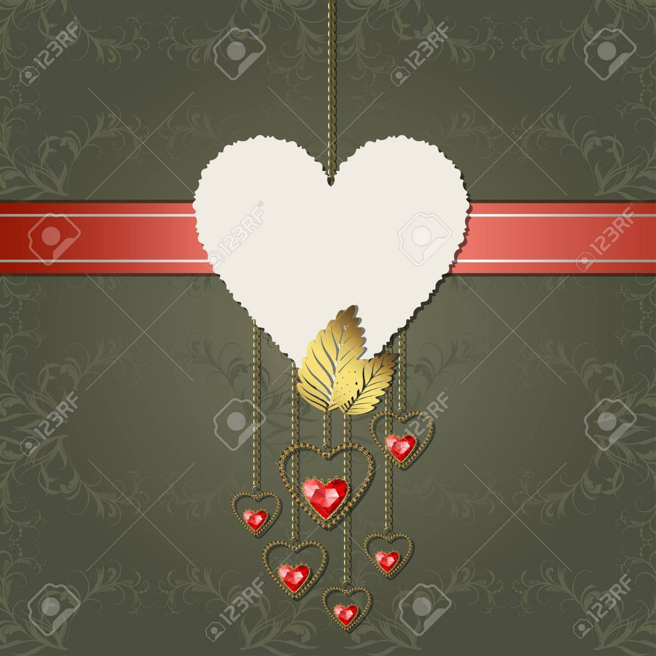 Beautiful red diamond hearts with gold ornaments and photographic paper heart for text Stock Vector - 17301243