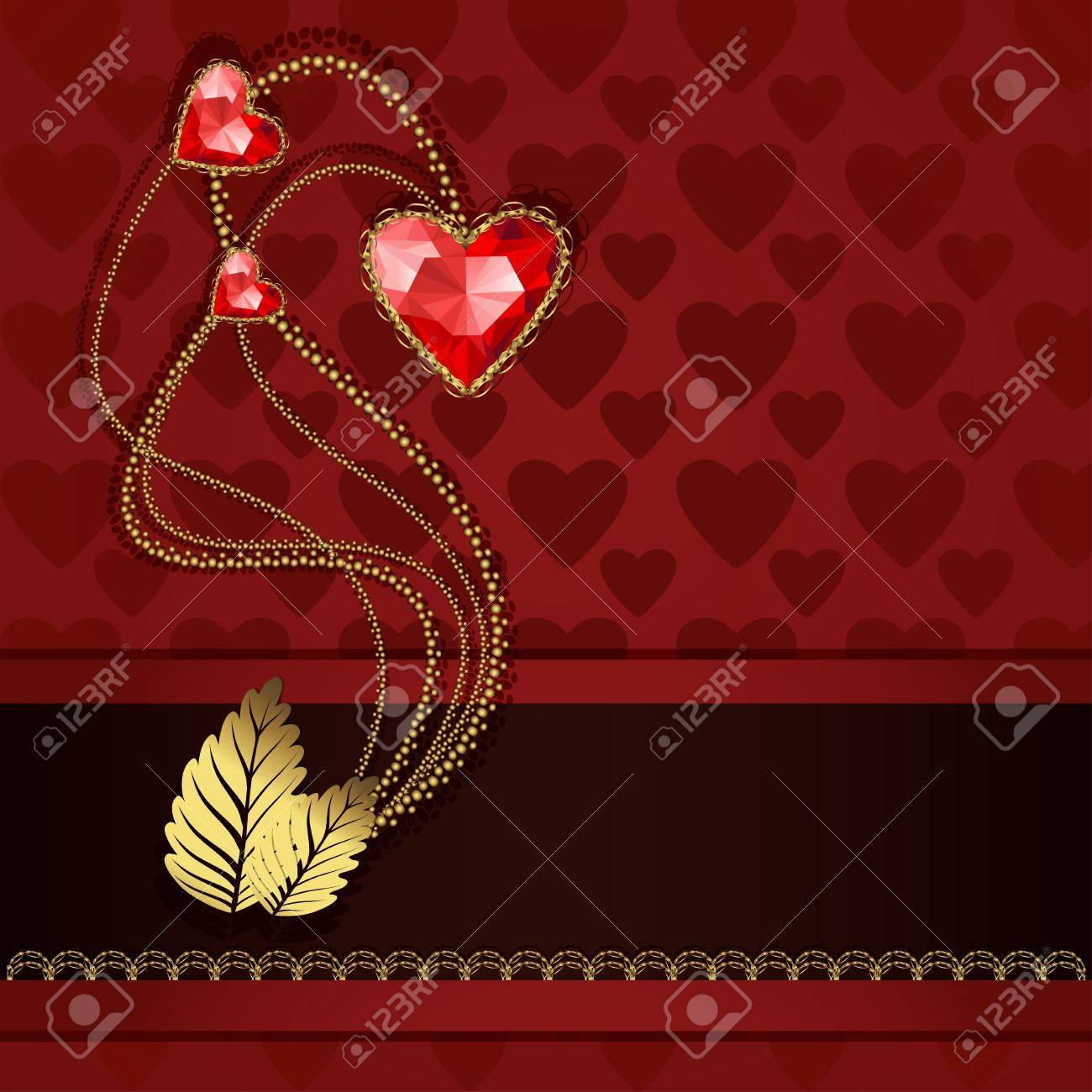 Beautiful three red diamond hearts and gold ornaments on red background Stock Vector - 17504406
