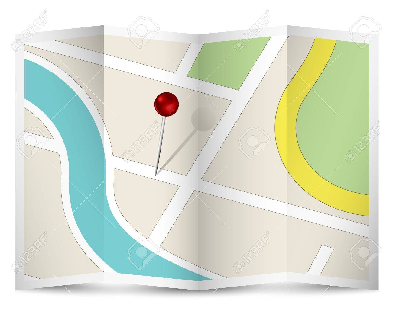 Map Icon With Red Pin Royalty Free Cliparts Vectors And – Road Route Map