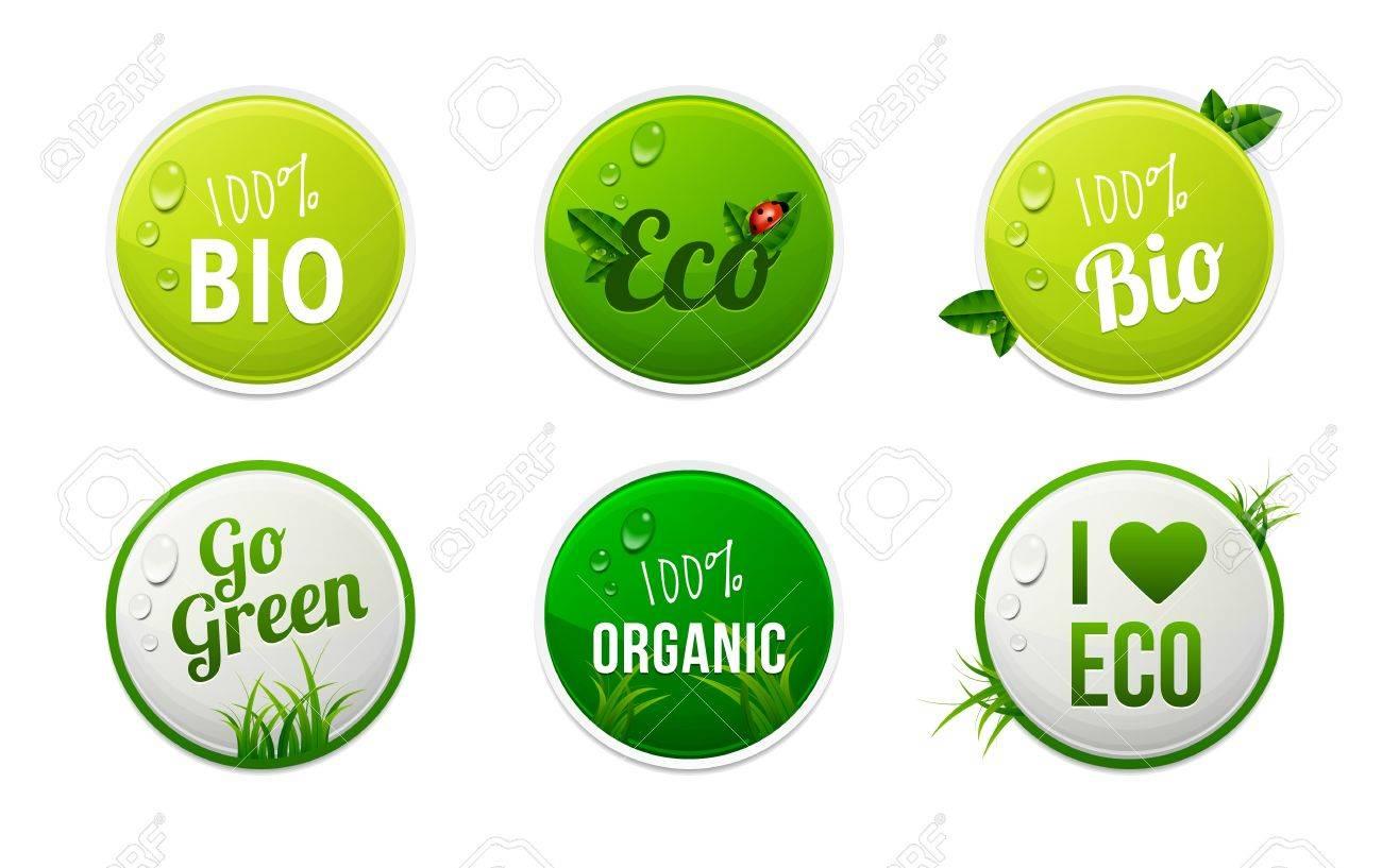 Set of bio, eco, organic sticker elements Stock Vector - 19247887