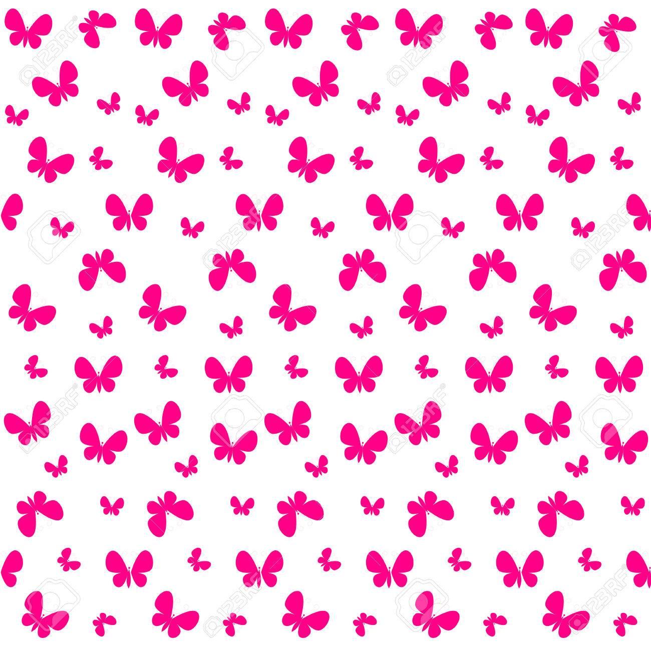 Vettoriale Carino Seamless Con Farfalle Rosa Può Essere