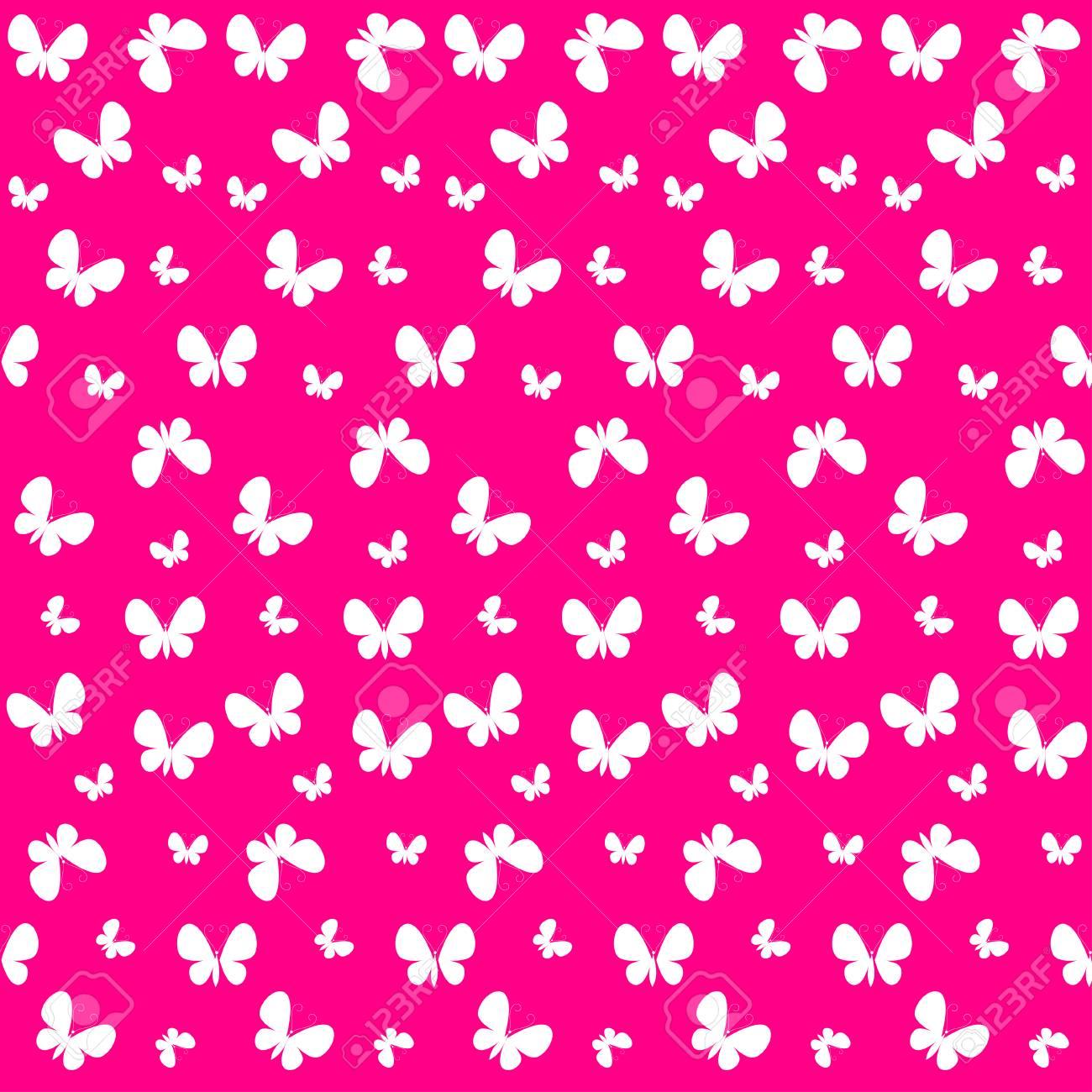 Vettoriale Carino Seamless Con Farfalle Bianche Sulla Rosa Può