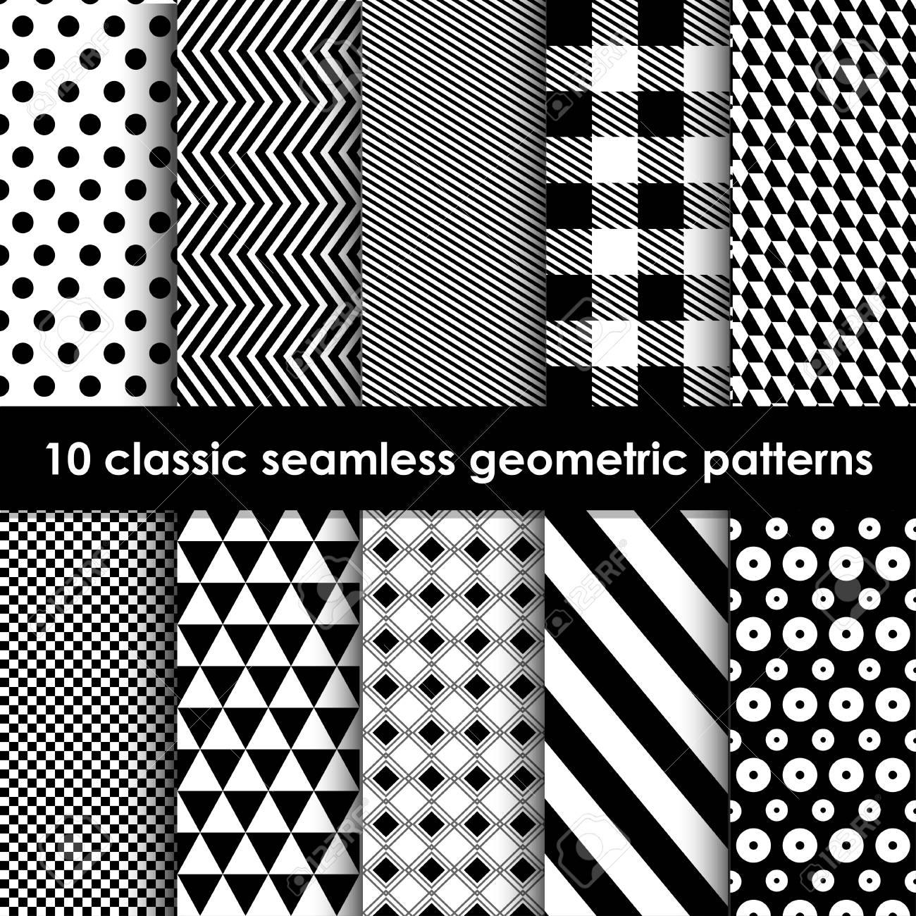 Disegni Geometrici Bianco E Nero motivi geometrici. set di 10 in bianco e nero senza soluzione di modelli  classici. può essere utilizzato come sfondo, sfondo, carta di invito, ecc