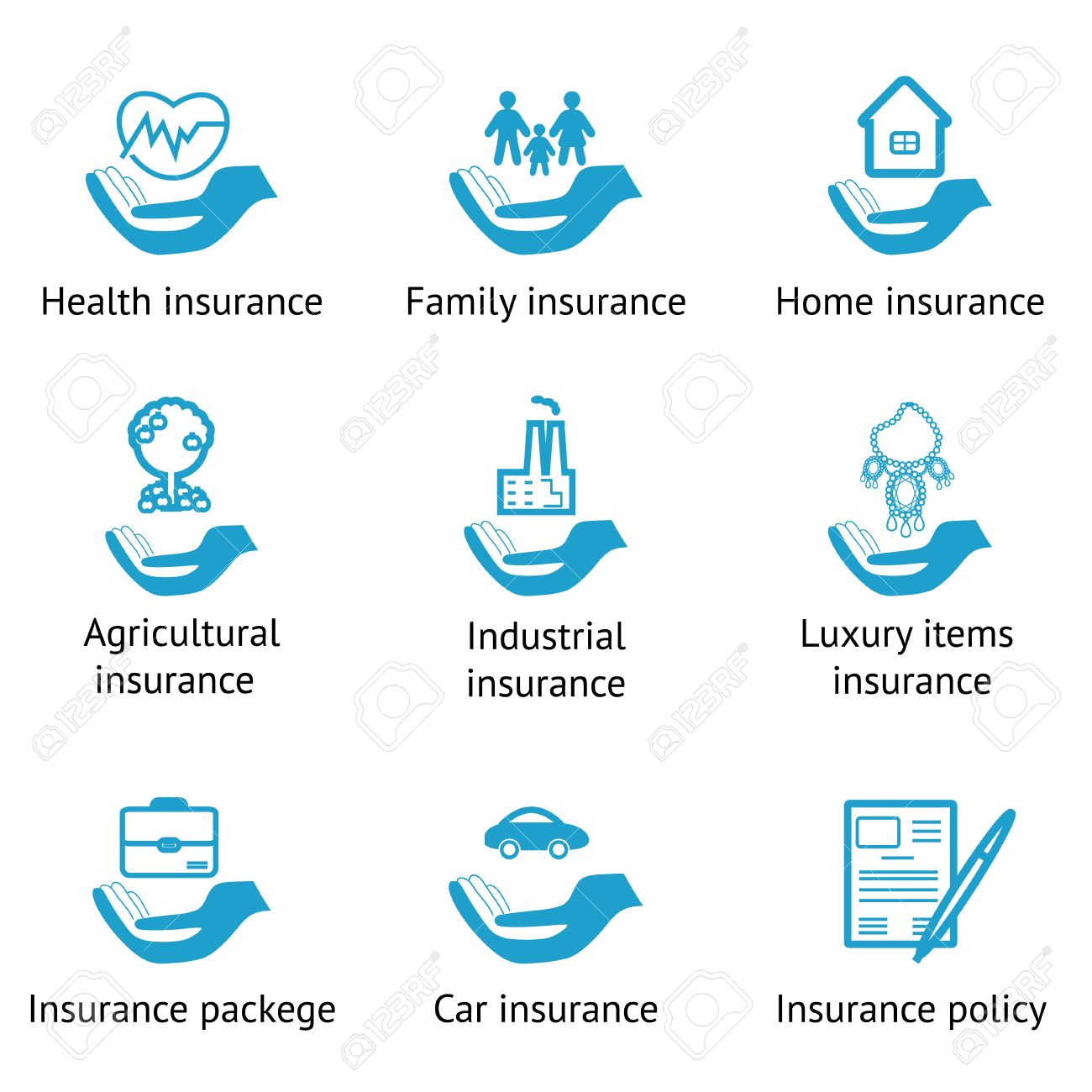 Home Luxury Items vector insurance pictograms set- home, auto, health, life