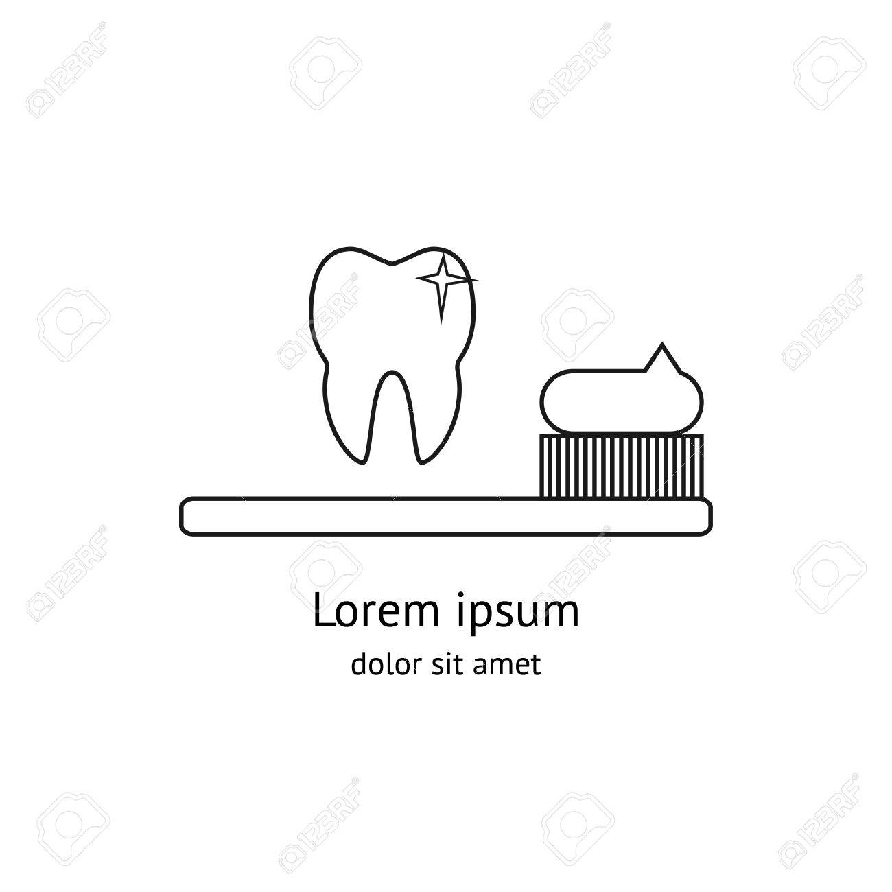 Tooth Dental And Toothbrush Design In Modern Outline Style