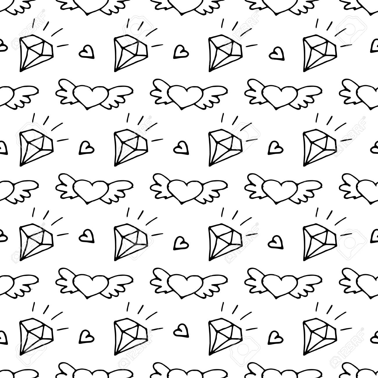 Seamless Pattern With Valentine Hearts And Diamonds Sketch Drawing
