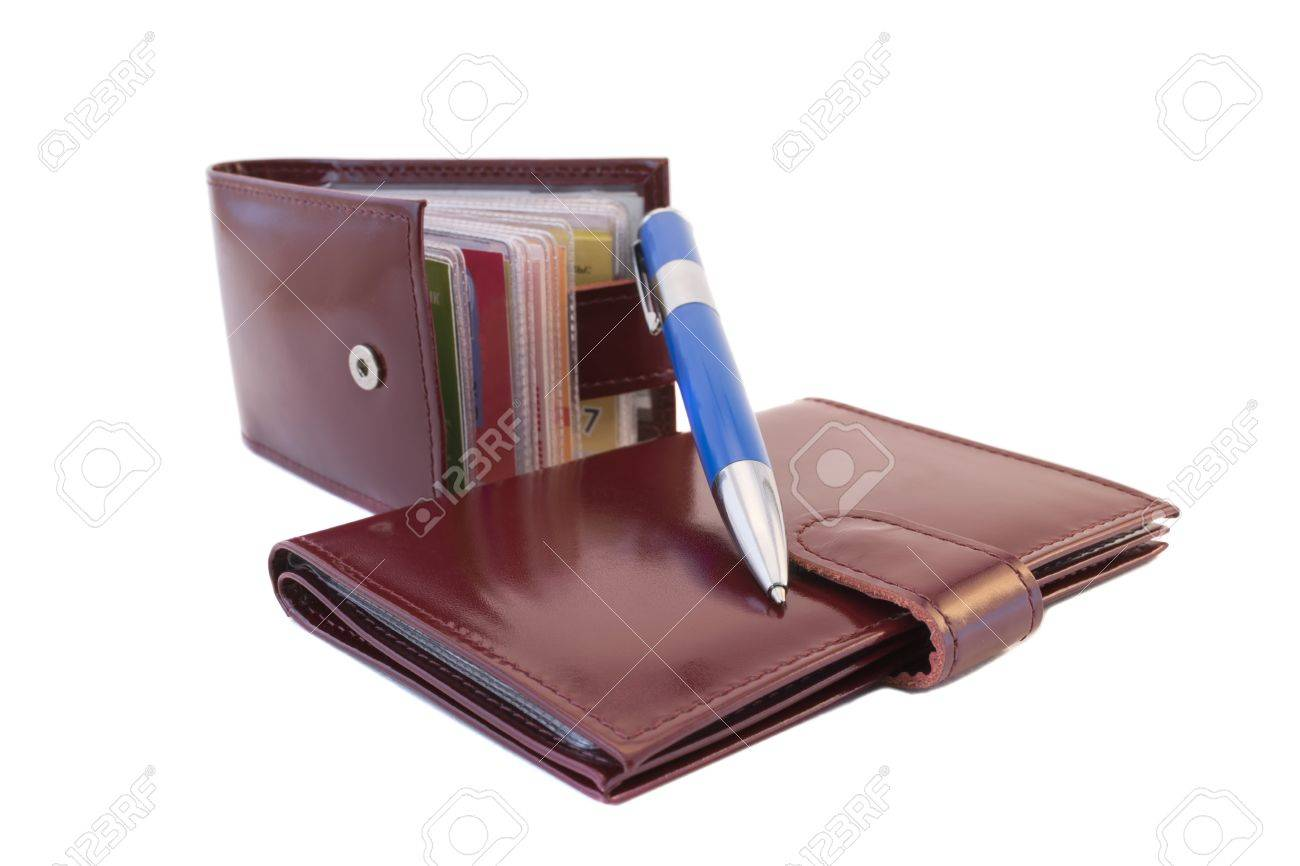 Business Card Holder, Pen And Notepad On White Background Stock ...