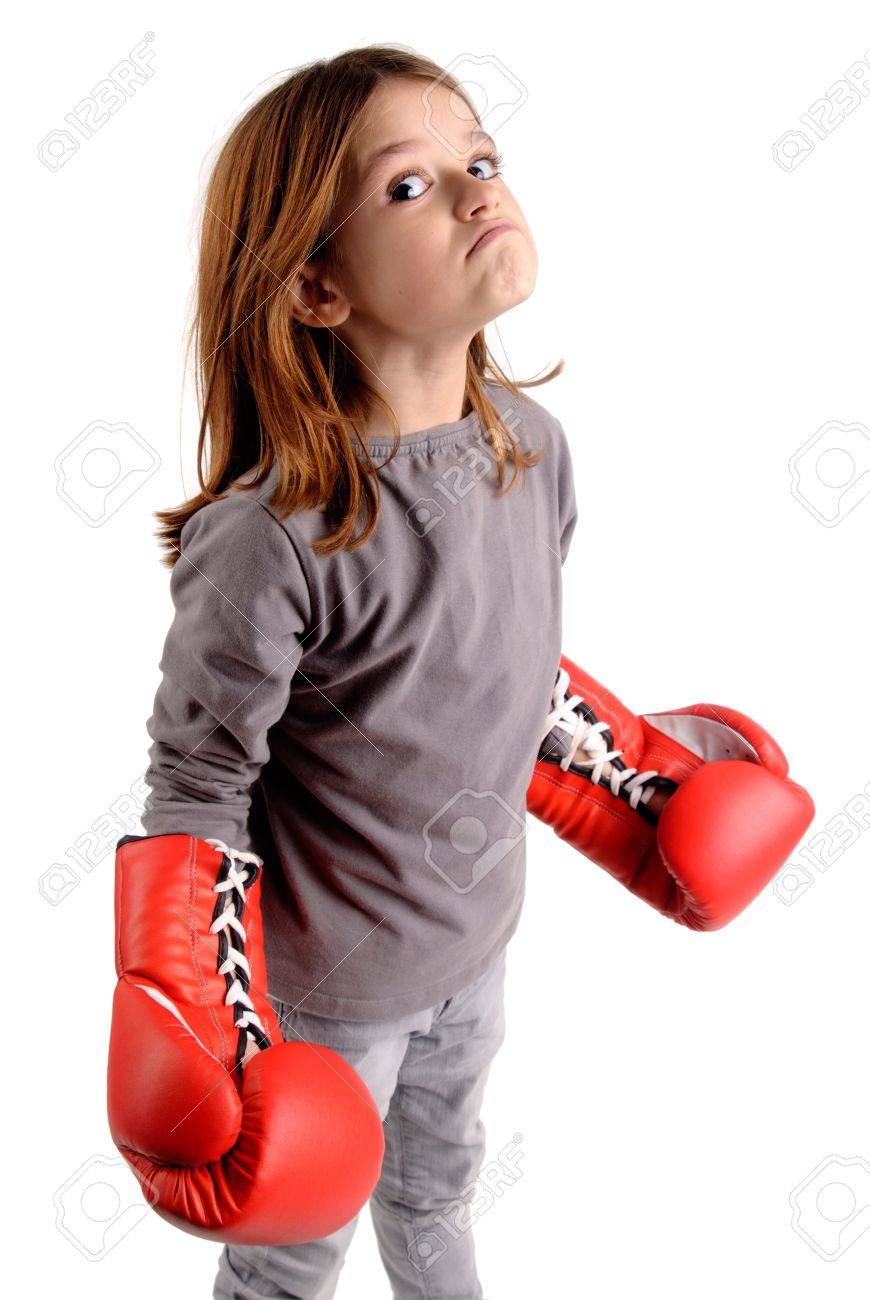 little girl with boxing gloves Stock Photo - 17830637