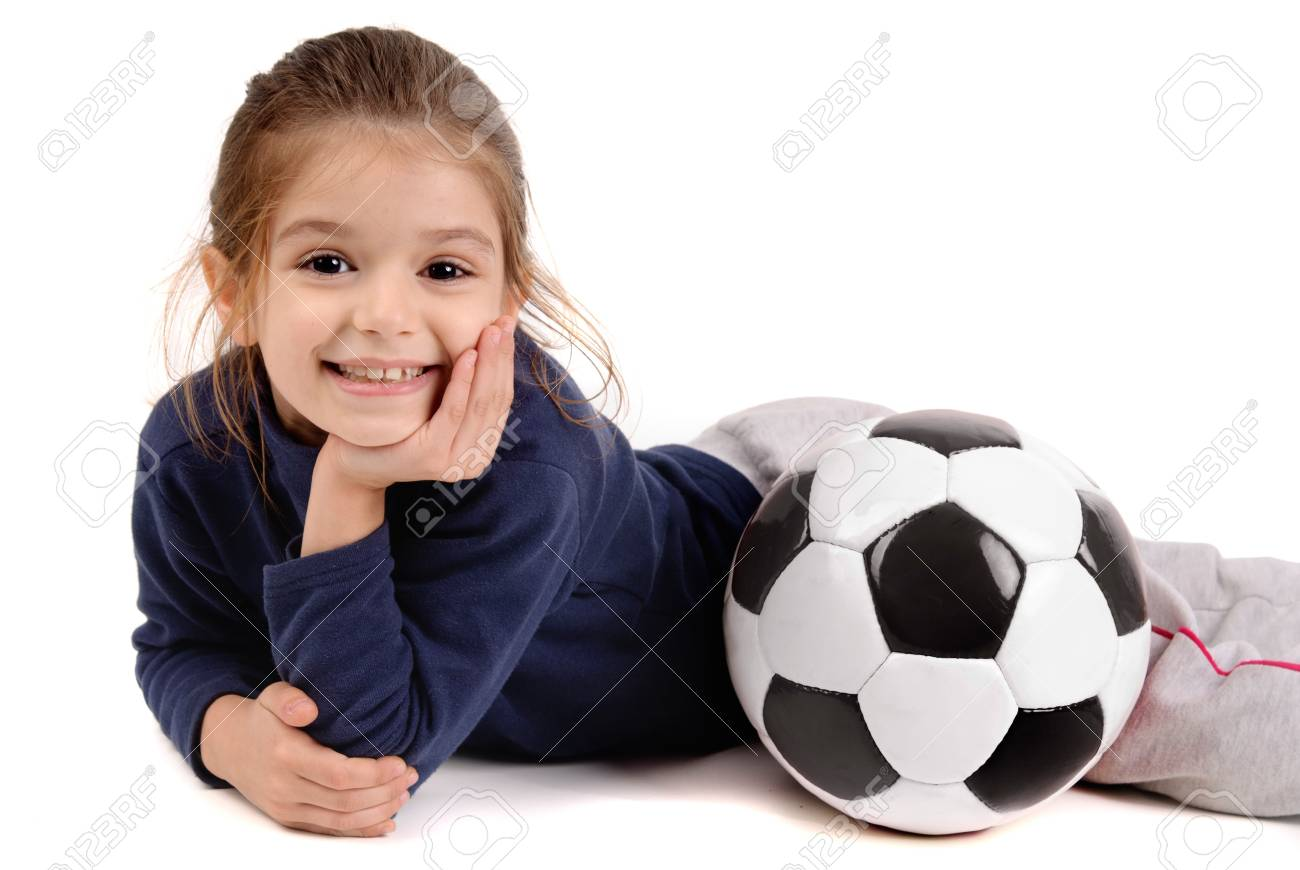 little girl with soccer ball Stock Photo - 18388505