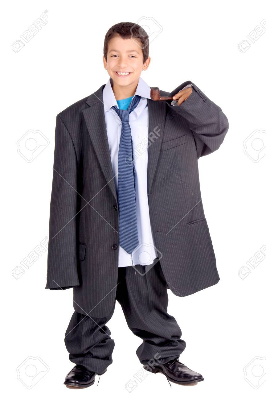 little boy isolated in white pretending to be an adult Stock Photo - 22577689